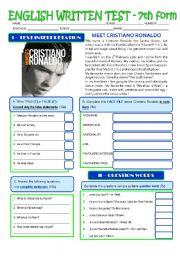 English Worksheet: CRISTIANO RONALDO - A TEST (PERSONAL IDENTIFICATION) - 7th grade - level 3 (greyscale + key)