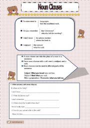 English Worksheet: NOUN CLAUSES EXERCISES WITH KEY