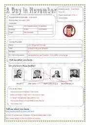 English Worksheets: JFK November 22 Film sheet   [Fully editable with key]