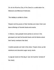 English worksheets: Dia de los Muertos Facts