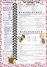 English Worksheets: Past Continuous Tense-affirmative sentences *** with grammar & key & B&W