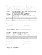 English worksheet: ABC Order with prefixes