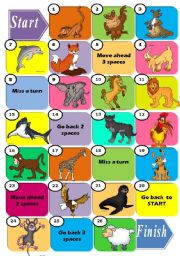 English Worksheets: ANIMALS - BOARD GAME
