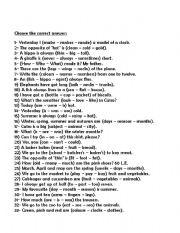 English Worksheets: choose the correct answer