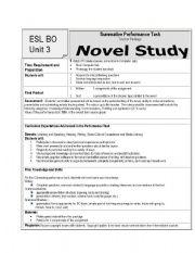 English Worksheets: Novel Study Culminating Activities
