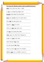 English Worksheets: Re-arrange the following sentences