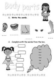 English Worksheets: Body parts (exercises)