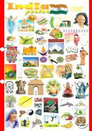 English Worksheet: India poster