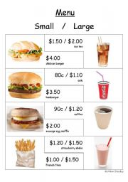 Food - Hamburger shop menu and flashcards