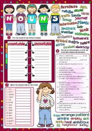English Worksheet: Parts of speech - NOUNS *Countable - Uncountable; Word formation; Plurals* (Greyscale + KEY included)