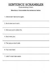 English Worksheets: Sentence Scramble - understanding orders