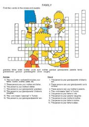 English Worksheet: family members crossword puzzle