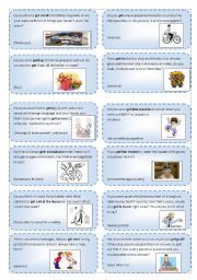 English Worksheet: Conversation cards (10) :expressions and phrasal verbs with GET_2