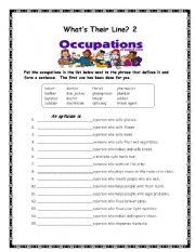 English Worksheets: What�s their line?  #2