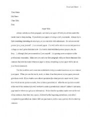 English worksheets: MLA Paper Format with parenthetical citation ...
