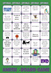 English Worksheet: Amish Board Game