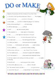 English Worksheet: DO OR MAKE