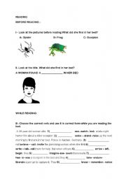 English Worksheets: A woman found a scorpion