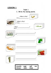 English Worksheets: Animals. Write the missing words