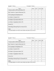English Worksheets: Oral Presentation Scoring Guide