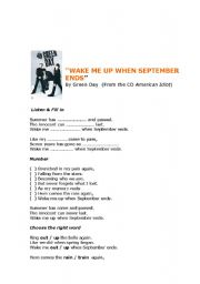 English Worksheets: wake me up when september ends by Green day