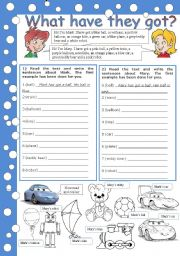 English Worksheet: what have they got (he´s got, she´s got, his/her) part 2