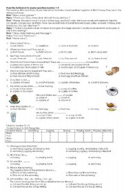 English Worksheet: quiz (FOOD AND DRINK, SPORT, POSSESIVE)