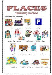places vocabulary exercises part 1 esl worksheet by weronika 1988. Black Bedroom Furniture Sets. Home Design Ideas
