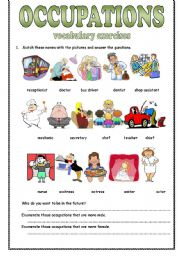 Jobs in medicine vocabulary worksheet for students.