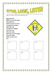 worksheet road safety chant english worksheet road safety chant
