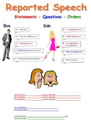 English Worksheets: Reported Speech (Statements - Questions - Orders)