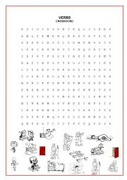 English Worksheets: CROSSWORD (VERBS) second part