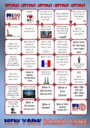 English Worksheet: New York Board Game