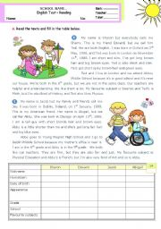 English Worksheet: Personal identification -- Reading Test