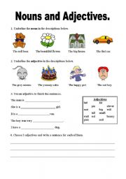 English Worksheets: Nouns and Adjectives worksheet