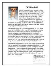 English Worksheet: faith the dog