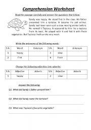 English Worksheets: Comprehension Worksheet