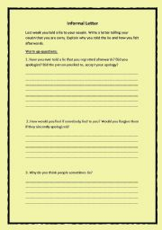 English Worksheets: Write a letter telling your cousin that you are sorry.