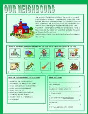 English Worksheet: OUR NEIGHBOURS - READING COMPREHENSION