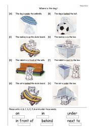 English Worksheet: Prepositions of place (in, on, under, in front of, behind, next to)