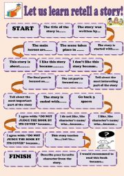 English worksheet: Board game retell a story.