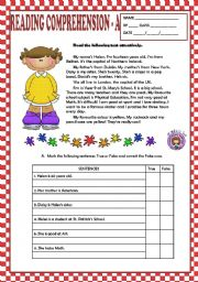 English Worksheets: READING COMPREHENSION A - BEGINNERS + KEY