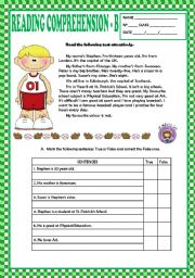 Reading Comprehension B Beginners Key Esl Worksheet By Macomabi