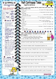 English Worksheet: Past Continuous Tense-negative sentences *** with grammar & key & B&W