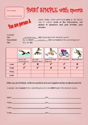 english worksheets sports day past simple. Black Bedroom Furniture Sets. Home Design Ideas