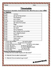 English Worksheet: after before