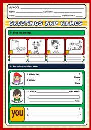 English Worksheet: GREETINGS AND NAMES