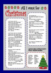 English Worksheet: ALL I WANT FOR CHRISTMAS IS YOU