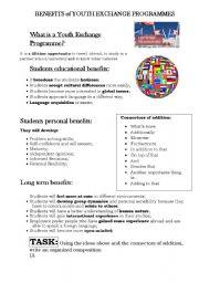 English Worksheets: Benefits of youyh Exchange Programmes