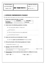 English Worksheet: mid-term test n1 (1st year )